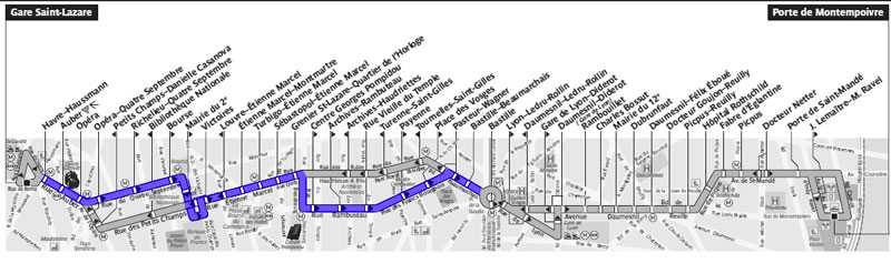 Plan de la ligne de bus n° 29