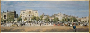 Vue générale des théâtres du boulevard du Temple, avant le percement du boulevard du Prince-Eugène, en 1862