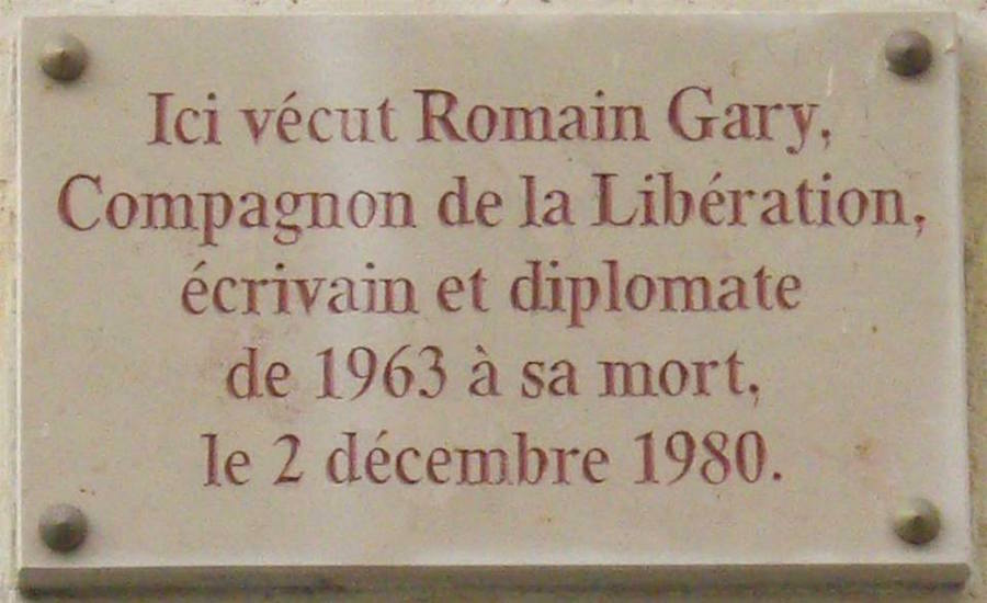 plaque romain gary paris