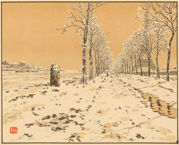 lithographie henri riviere neige 1