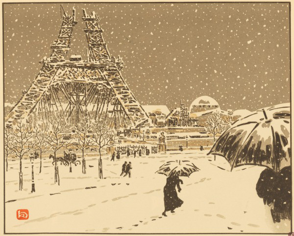 lithographie henri riviere neige