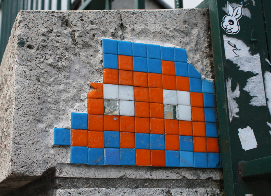 France, Paris - Street Art, Space Invader close up