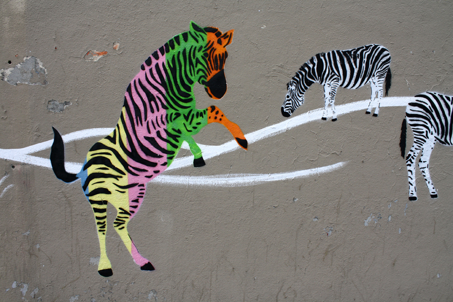 France, Paris- Street Art Mosco Zebras