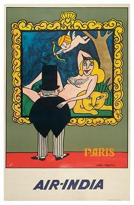 air india vintage paris poster
