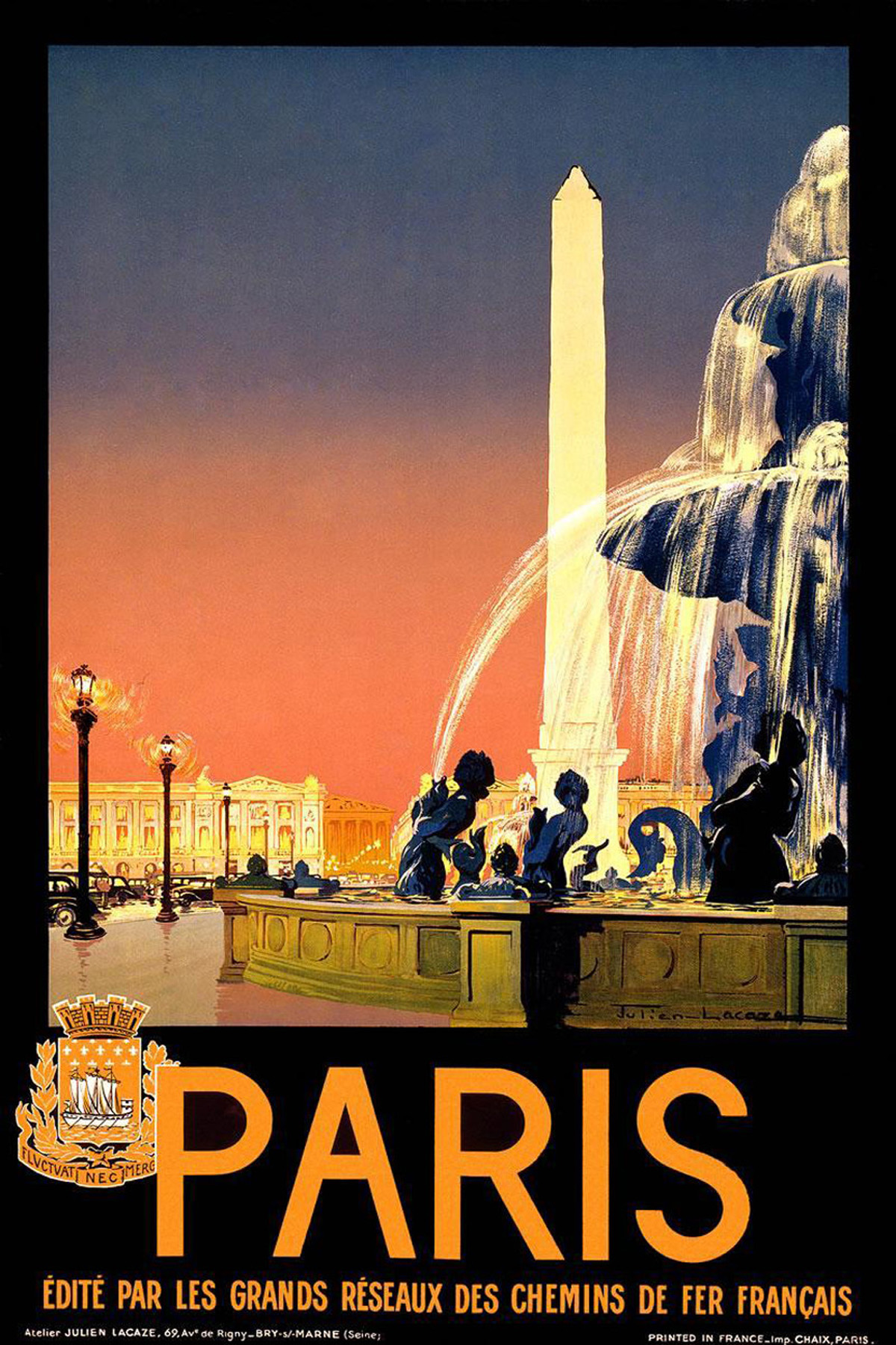 travel poster paris vintage