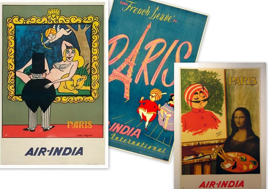 vintage poster air india paris
