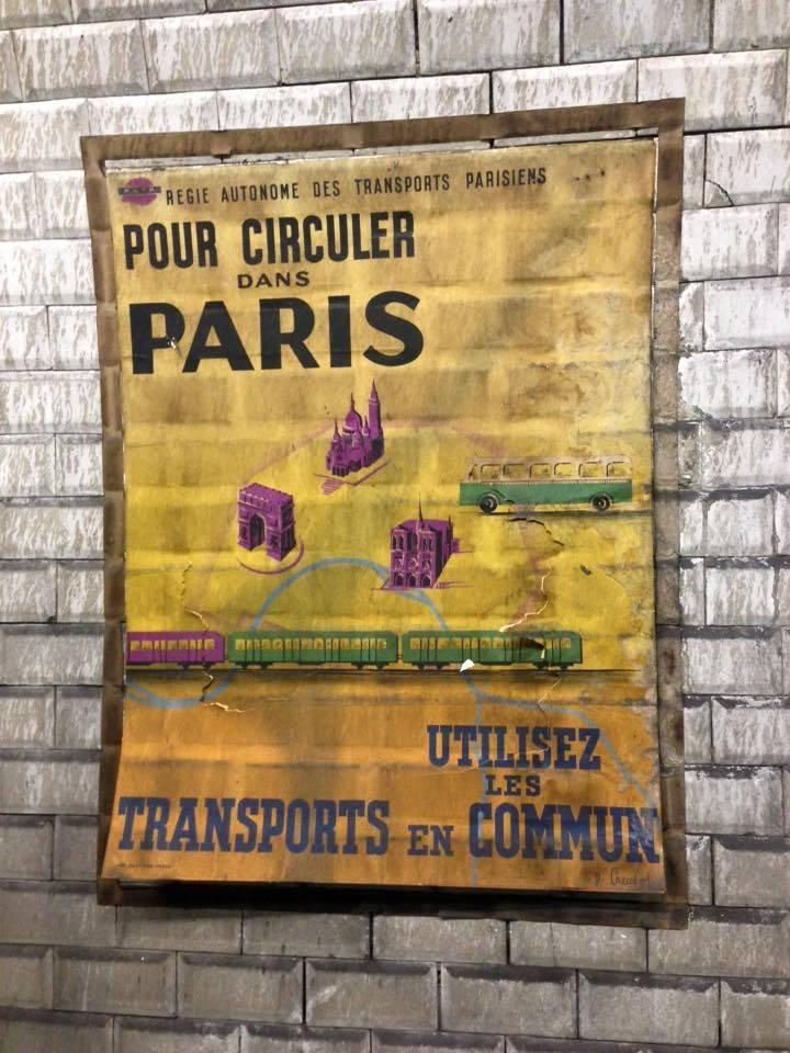 vieille affiche metro paris annees 50