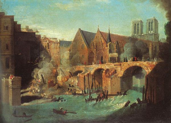 Le Petit-Pont après l'incendie de 1718. Jean-Baptiste Oudry