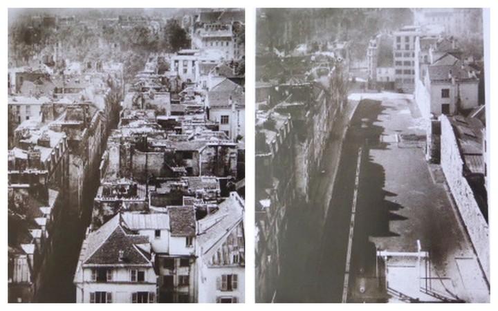La rue des Jardins Saint-Paul avant et après la démolition des immeubles côté impair.