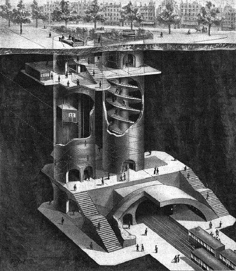 plan de coupe station abbesses