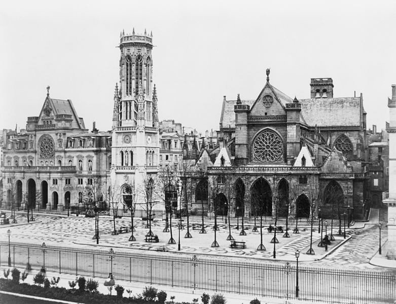 La mairie du 1er arrondissement et l'église Saint-Germain-l'Auxerrois vers 1865. Edouard Baldus